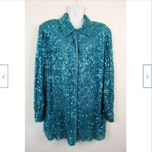 Judith Ann Creations Sequined Button Down Tunic